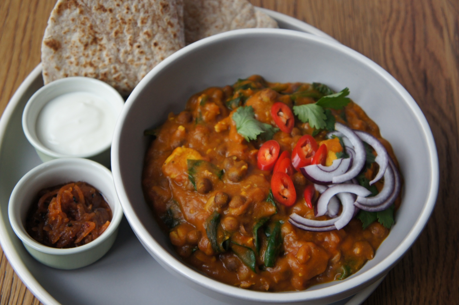 Chicken & Carlin pea curry with chapatis