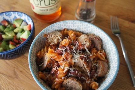 bace beans with benefits & sausage pasta dish